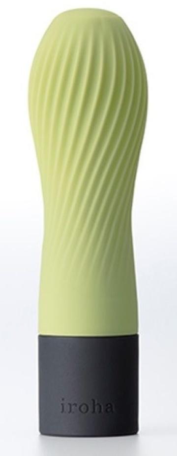 Салатовый рифленый мини-вибратор IROHA ZEN MATCHA - 12,7 см.