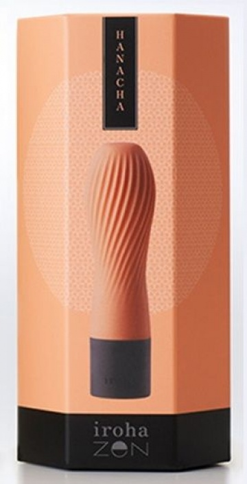 Персиковый рифленый мини-вибратор IROHA ZEN HANACHA - 12,7 см.