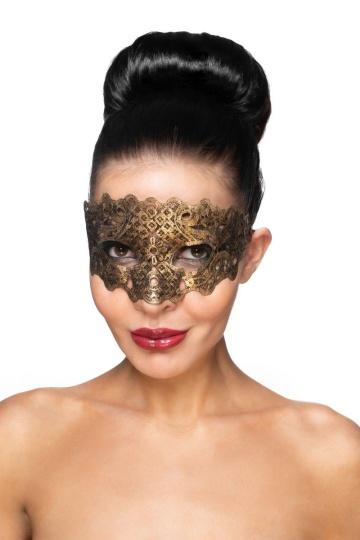 """Золотистая карнавальная маска """"Каус"""""""