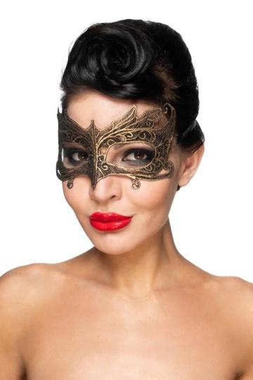 """Золотистая карнавальная маска """"Наос"""""""