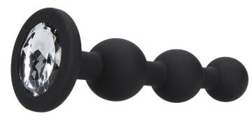 Черная анальная елочка с прозрачным стразом Beaded Diamond Butt Plug - 11,4 см.