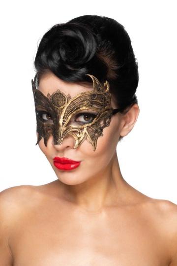 """Золотистая карнавальная маска """"Андромеда"""""""