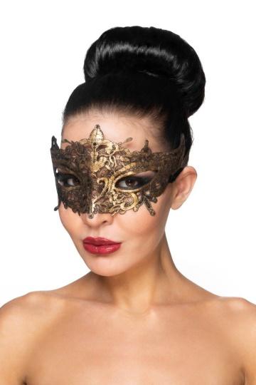"""Золотистая карнавальная маска """"Каф"""""""