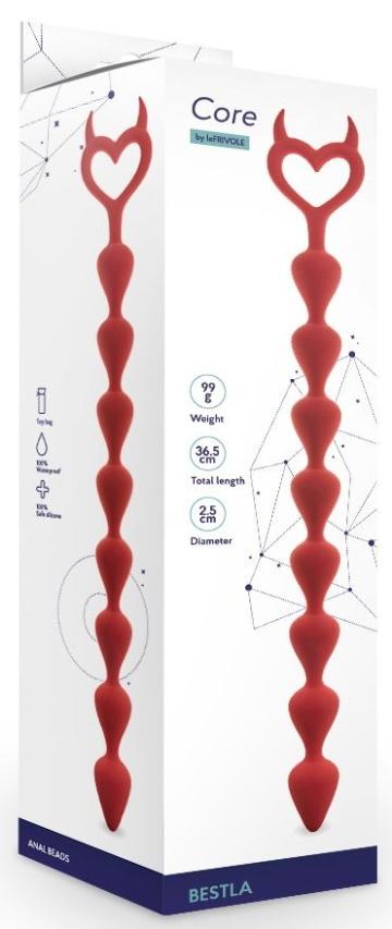 Бордовая анальная цепочка Bestla - 36,5 см.