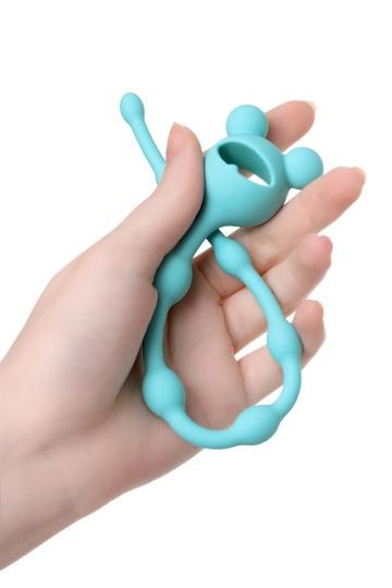 Голубая анальная цепочка с ограничителем - 28 см.