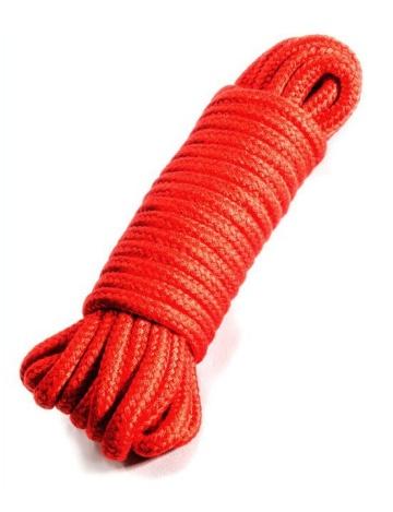 Красная верёвка для бондажа и декоративной вязки - 10 м.