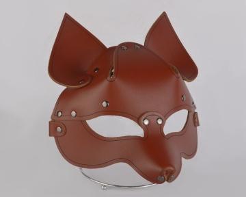 """Коричневая кожаная маска """"Лиса"""""""