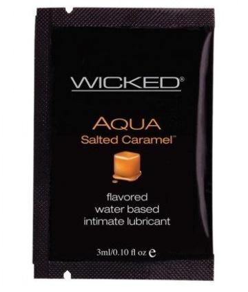 Лубрикант со вкусом соленой карамели WICKED AQUA Salted Caramel - 3 мл.
