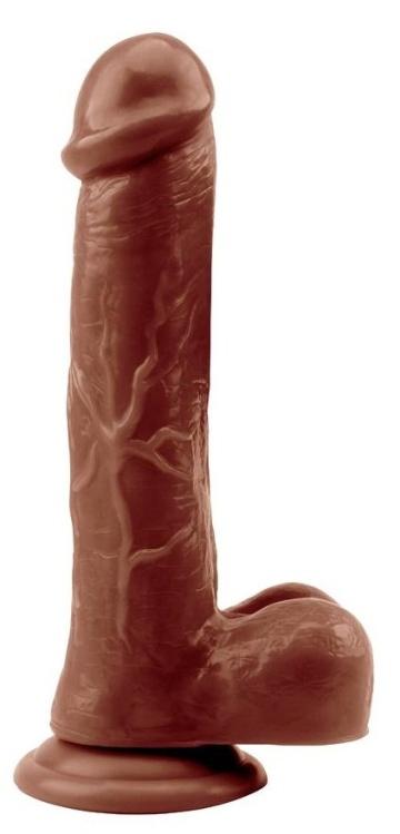 Коричневый фаллоимитатор Devil Inside Penis - 22,5 см.