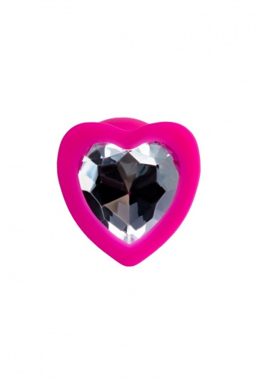 Розовая анальная втулка с прозрачным стразом-сердечком - 7 см.