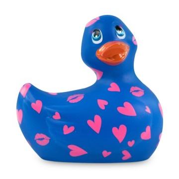 Синий вибратор-уточка I Rub My Duckie 2.0 Romance с розовым принтом
