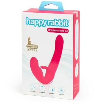 Ярко-розовый безремневой страпон Rechargeable Vibrating Strapless Strap-On
