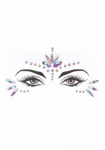 Эротический комплект с наклейкой на лицо Bra Set With Garters & Dazzling Sticker