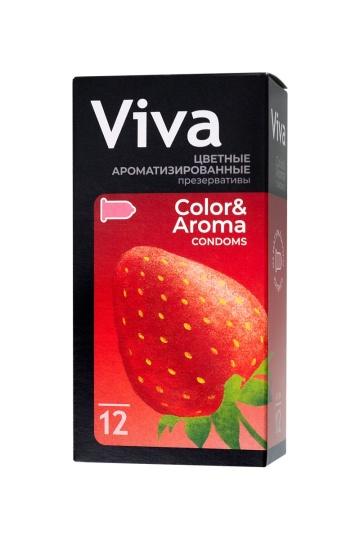 Цветные презервативы VIVA Color&Aroma с ароматом клубники - 12 шт.