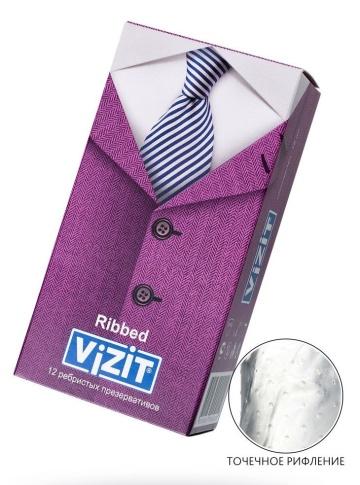 Ребристые презервативы VIZIT Ribbed - 12 шт.