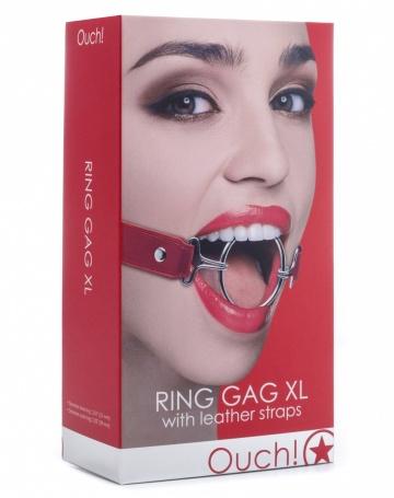 Расширяющий кляп Ring Gag XL с красными ремешками