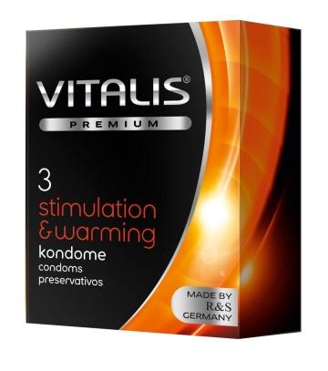 Презервативы VITALIS PREMIUM stimulation & warming с согревающим эффектом - 3 шт.