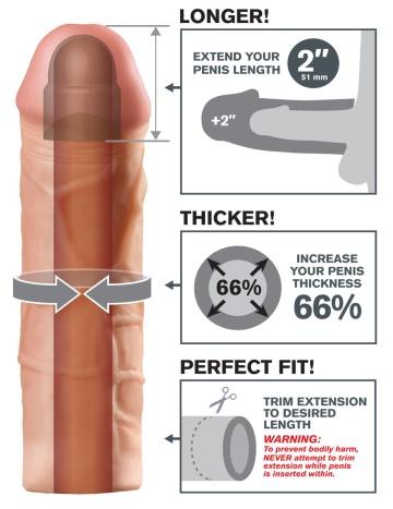 Телесная насадка Mega 2 Extension - 20 см.