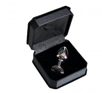 Малая серебристая анальная втулка с прозрачным кристаллом - 6 см.