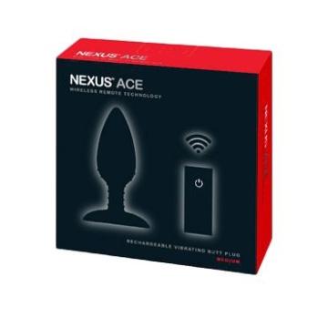 Чёрная вибровтулка NEXUS ACE MEDIUM с дистанционным управлением - 12 см.