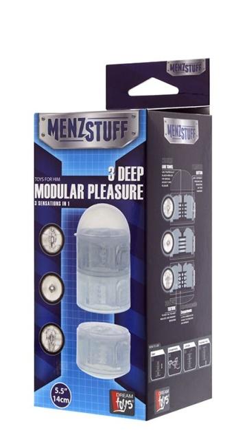 Прозрачный модульный мастурбатор MENZSTUFF 3 DEEP MODULAR PLEASURES