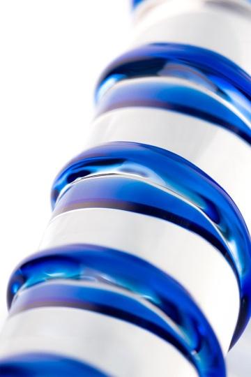 Прозрачный фаллос из стекла со спиралью - 18 см.