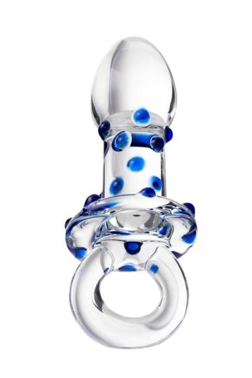 Стеклянная прозрачная втулка с кольцом - 14 см.