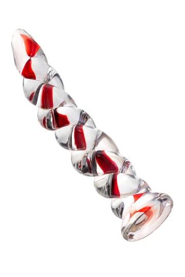 Стеклянный фаллос в виде спирали - 18 см.