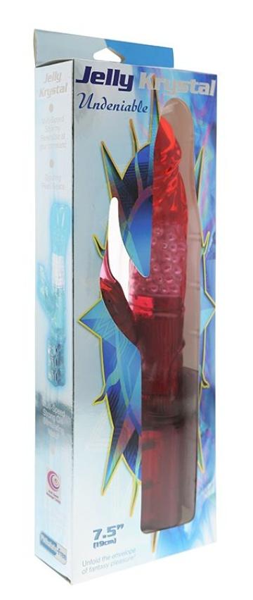 Красный вибратор с клиторальным отростком JK UNDENIABLE 7.5 PEARL DIVER - 19 см.