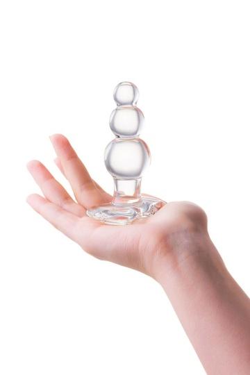 Прозрачная анальная втулка-ёлочка из стекла - 10,5 см.