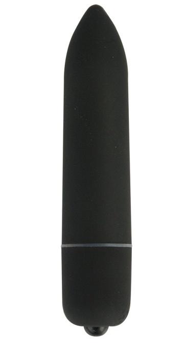Чёрная удлинённая вибропуля Power Bullet Black - 8,3 см.