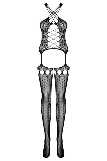 Откровенный комбинезон-сетка с имитацией шнуровки