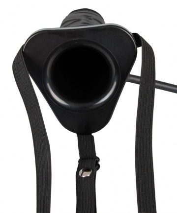 Полый страпон с эффектом увеличения Inflatable Strap-On - 18,5 см.