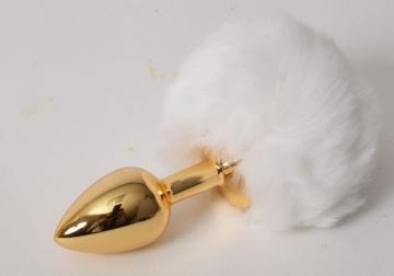 """Золотистая анальная пробочка c белым хвостом """"Задорный Кролик"""""""