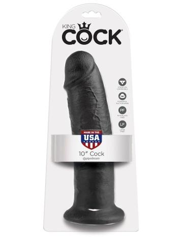 """Чёрный фаллос-гигант 10"""" Cock - 25,4 см."""