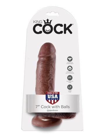 """Коричневый фаллоимитатор с мошонкой 7"""" Cock with Balls - 19,4 см."""