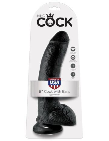"""Чёрный фаллоимитатор 9"""" Cock with Balls - 22,9 см."""