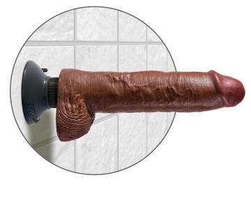 """Коричневый вибратор-гигант со съёмной присоской 10"""" Vibrating Cock with Balls - 25,4 см."""