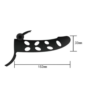 Чёрная закрытая насадка на пенис с вибрацией - 15,2 см.