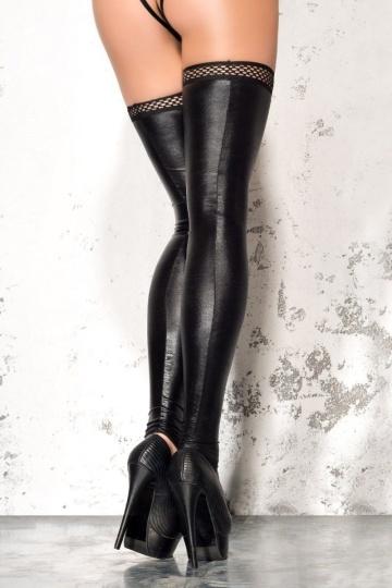 Чулки wetlook с открытой пяткой и носком