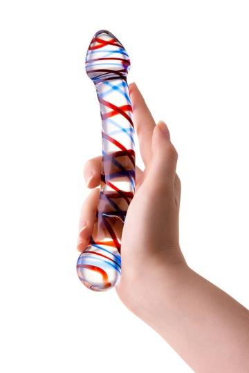 Двусторонний стеклянный фаллос с разноцветными спиралями - 21 см.