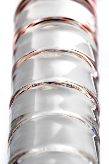 Стеклянный стимулятор с ручкой-шаром и цветными пупырышками - 22 см.