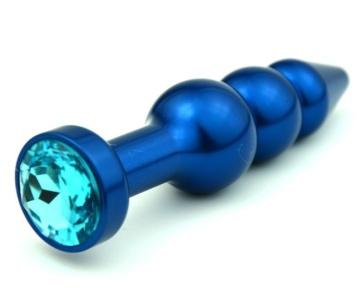 Синяя фигурная анальная пробка с голубым кристаллом - 11,2 см.