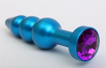 Синяя фигурная анальная пробка с фиолетовым кристаллом - 11,2 см.