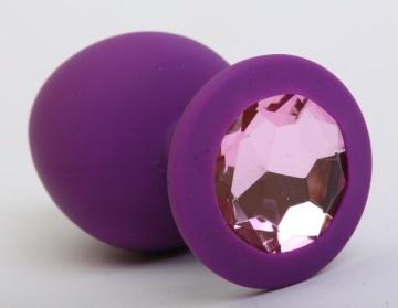 Фиолетовая силиконовая пробка с розовым стразом - 8,2 см.