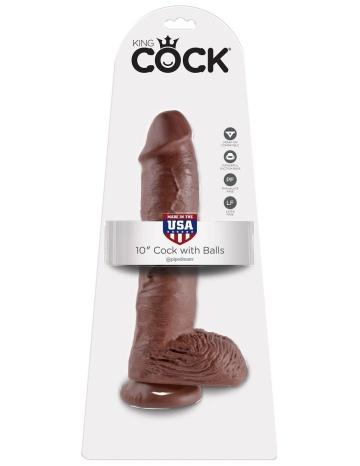 """Большой коричневый фаллоимитатор с мошонкой 10"""" Cock with Balls на присоске - 25,4 см."""