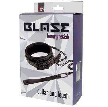 Фиолетово-чёрный ошейник с поводком BLAZE COLLAR AND LEASH PURPLE