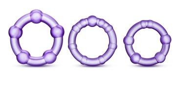 Набор из 3 фиолетовых эрекционных колец Stay Hard Beaded Cockrings
