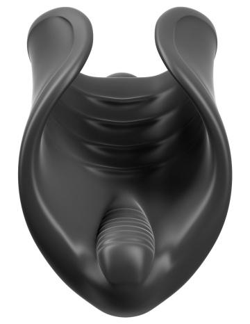 Чёрный мастурбатор Vibrating Silicone Stimulator с вибрацией