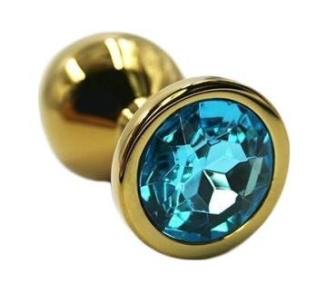 Золотистая алюминиевая анальная пробка с голубым кристаллом - 6 см.